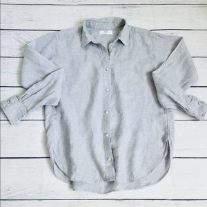 Uniqlo light gray linen button down shirt xs